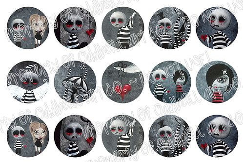 Bottlecap Images Digital Collage Sheet 1 Inch Circles ~ Big Juicy Tears... 3