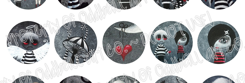Bottlecap Images Digital Collage Sheet 1 Inch Circles ~ Big Juicy Tears... 3