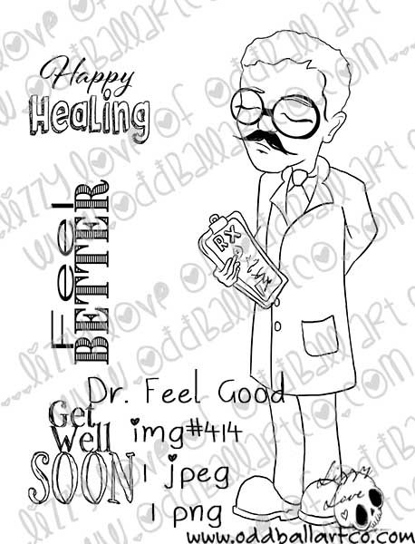 Digital Stamp Cute Whimsical Male Doctor ~ Dr. Feel Good Image No. 414