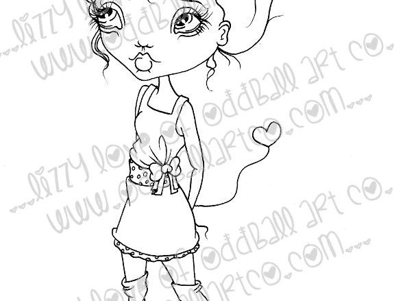 Printable Stamp Big Eye Girl w/ Heart Sunni Digital Download Image 175