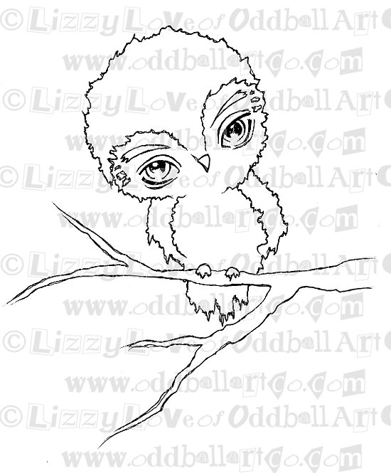 Digital Stamp Cute Big Eye Owl on Tree Branch Image No. 58