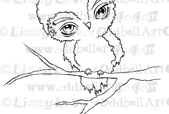 Digital Stamp Cute Big Eye Owl on Tree Branch Image No. 58