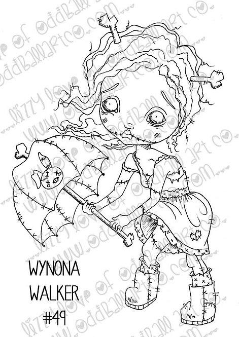 Digital Stamp Creepy Cute Big Eye Zombie Girl w/ Umbrella Image No. 49