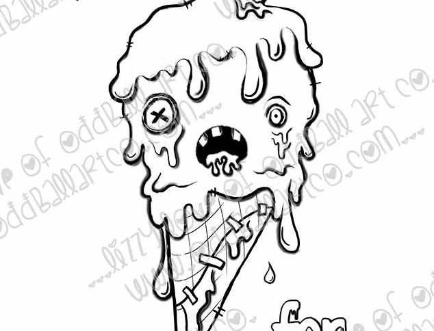 Digital Stamp Creepy Cute Zombie Ice cream Eyes Scream Image No.314
