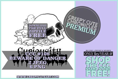 CCC# 108 BEWARE OF DANGER DIGI STAMP Creepy Cute Chronicle