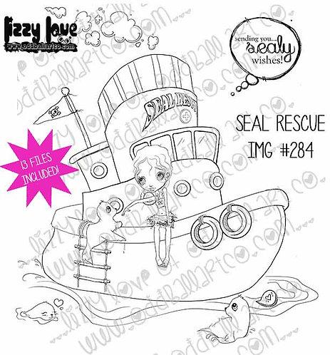Digital Stamp Kawaii Seals & Big Eye Girl On Rescue Boat Image Set No. 284