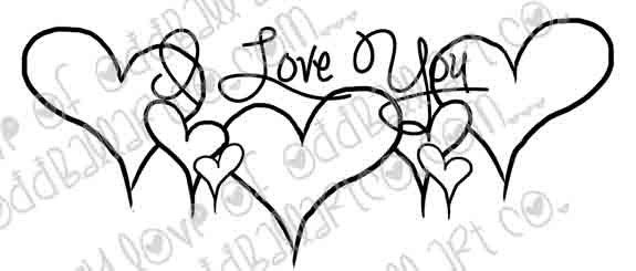 Digital Stamp Whimsical Love Hearts Image No. 224