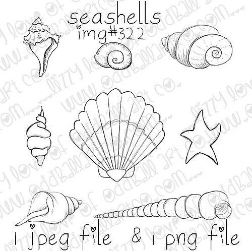 Digital Stamp Whimsical Seashell Set Image No.322