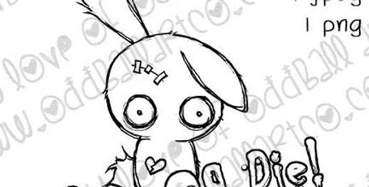 Digital Stamp Creepy Cute Big Eye Bunny Horrible Hare Image No.373