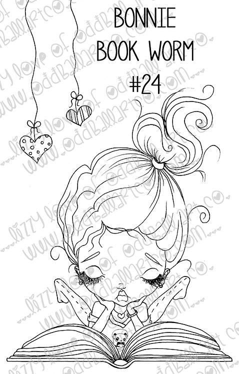 Digital Stamp Big Eye Reading Girl ~ Bonnie Bookworm Image No. 24