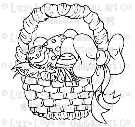 Digital Stamp Cute Easter Basket ONE DOLLAR STAMP Image No. 35