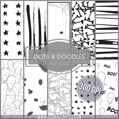 Digital Paper 10pc Dots & Doodles 12 x 12 300dpi by Lizzy Love