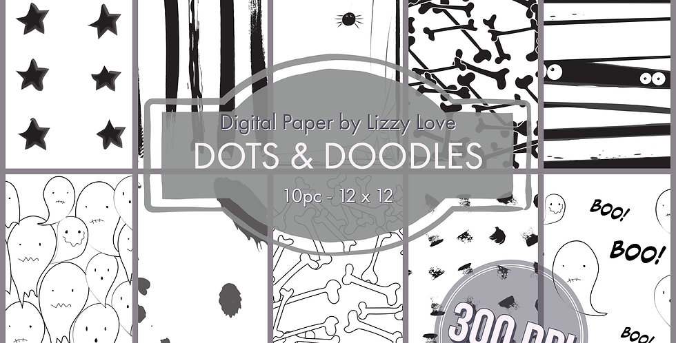 Digital Paper 10pc Dots & Doodles 12 x 12 300dpi by Lizzy Love