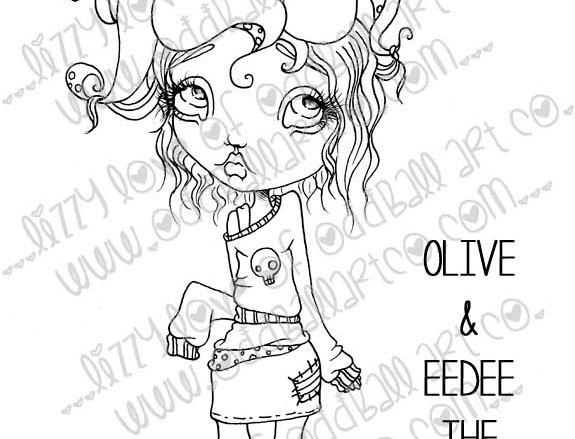 Digital Stamp Big Eye Girl Olive with Eedee the Geek Octopus Image No. 150