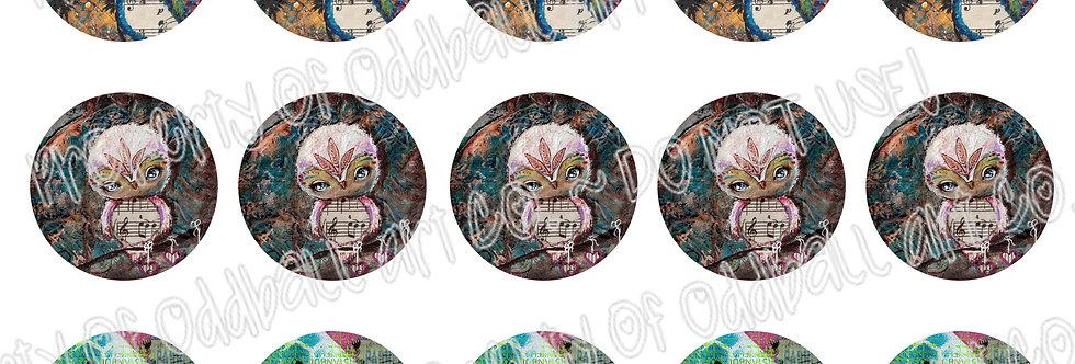 Bottlecap Images Digital Collage Sheet 1 Inch Circles ~ Owl Set 1