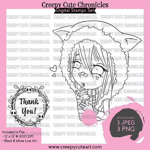 CCC# 132 COZY & THANKFUL DIGI STAMP Creepy Cute Chronicles