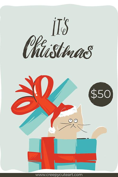 $50 Christmas Gift Card Oddball Art Digital Stamps