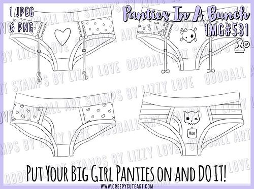 Digi Stamp Panties In A Bunch Creepy Cute Set of 4 Image 531