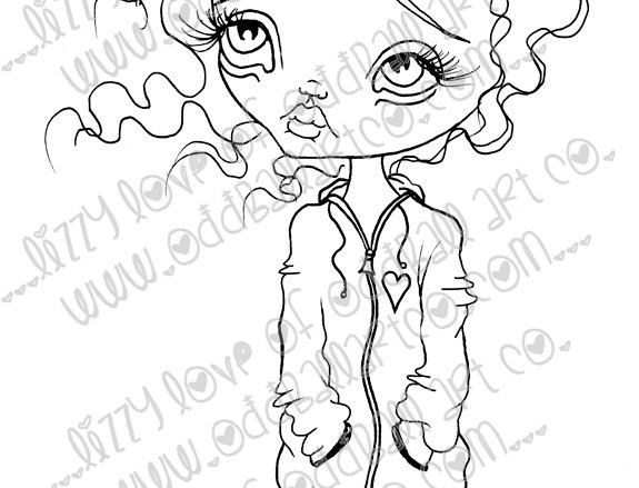 Digital Download Printable Stamp Big Eye Girl Wanda Image No. 9