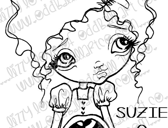Digital Stamp Cute Kawaii Big Eye Girl Suzie Q Image No. 2