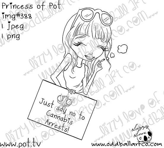 Digital Stamp Big Eye 420 Girl w/ Sentiments Princess of Pot Image No.388