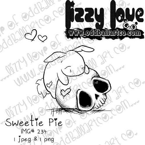Digital Stamp Creepy Cute Sad Bunny on Skull Sweetie Pie Image No. 234