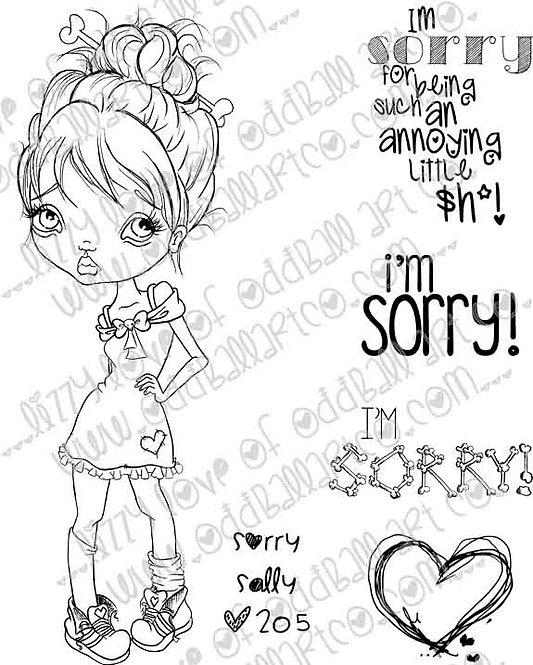 Digital Stamp Cute & Sassy Big Eye Girl Sorry Sally Image No. 205