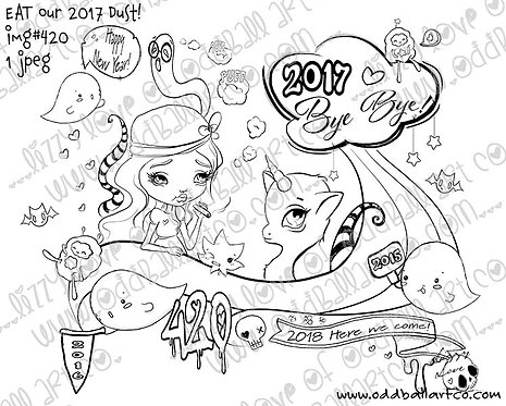 Digital Stamp New Years Illustration Eat Our 2017 Dust Image No. 420