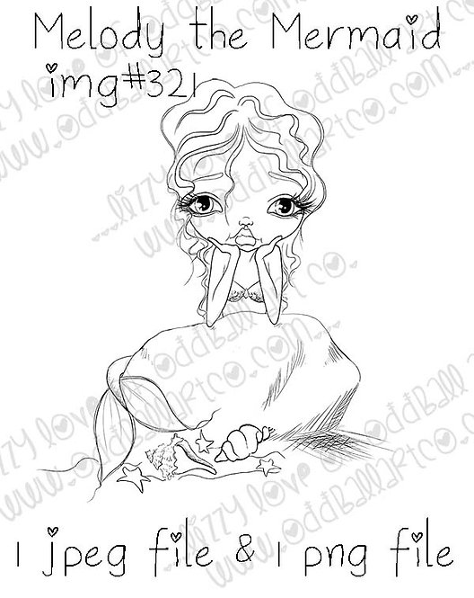 Digital Stamp Whimsical Big Eye Melody the Mermaid Image No. 321