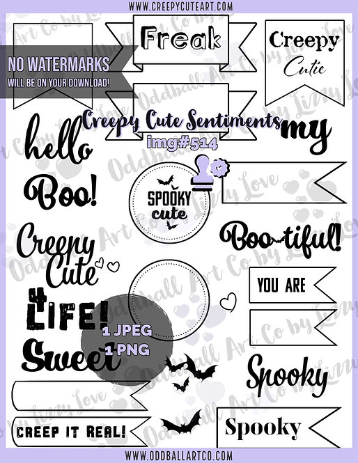 Digi Stamp Creepy Cute Sentiments Banners and Badges Image#514