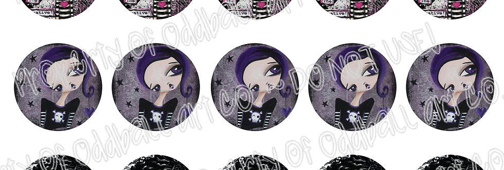 Bottlecap Images Digital Collage Sheet 1 Inch Circles ~ Dark Girls