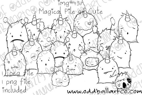 Digital Stamp Cute Unicorn Crowd ~ Magical Pile of Cute Image No.431