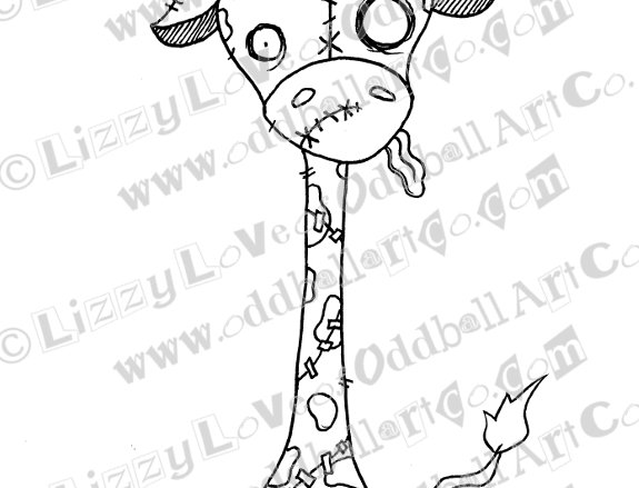 Printable Stamp Creepy Cute Zombie Giraffe Spookison Download Image No 135