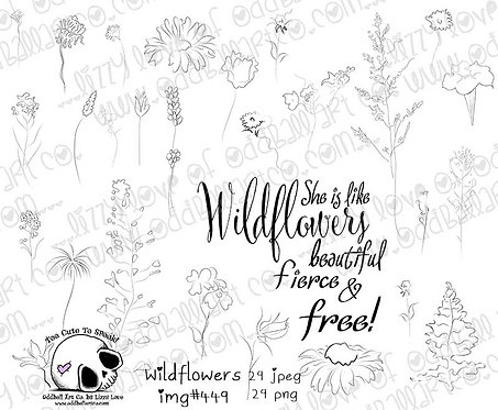 Digital Stamp Whimsical Set of Wildflowers w/ Inspiring Quote Image No.449
