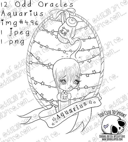 Digi Stamp Twisted Circus Zodiac 12 Odd Oracles ~ Aquarius  Image # 496