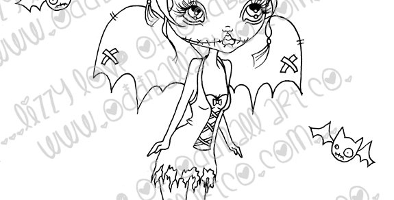 Digital Stamp Big Eye Creepy Cute Fairy Dakota Image No. 69