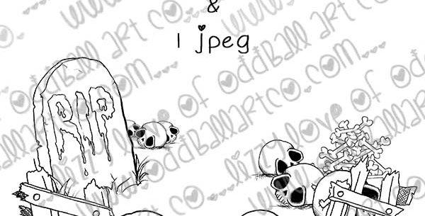 Digital Stamp Creepy Cute Background Scene Grave & Bone Yard Scene Image No.349