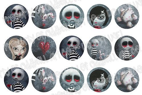 Bottlecap Images Digital Collage Sheet 1 Inch Circles ~ Big Juicy Tears of... 2