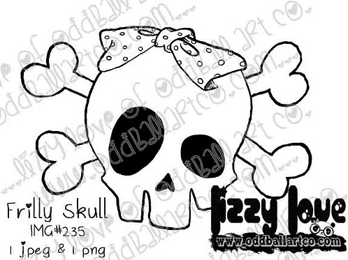 Digital Stamp Creepy Cute Whimsical Frilly Skull with Bow Image No. 235