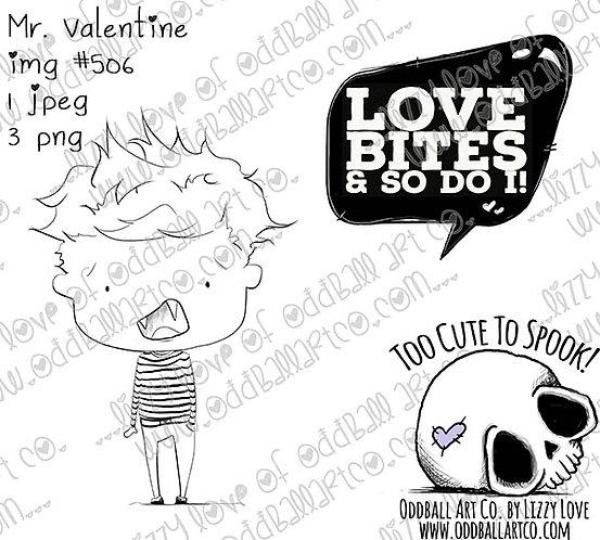 Digi Stamp Creepy Cute Vamp Boy Mr. Valentine Image # 506