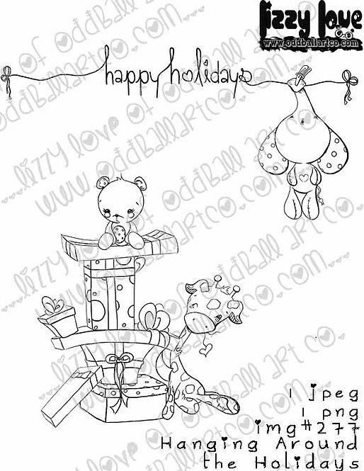 Digital Stamp Happy Holidays Kawaii Stuffies Hanging Around the Holidays No. 277