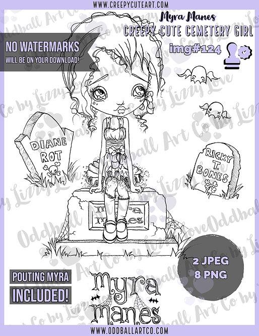 Digi Stamp Creepy Cute Cemetery Girl Myra Manes Set IMG 124