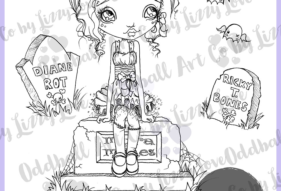Digi Stamp Creepy Cute Cemetery Girl Myra Manes Set IMG 124