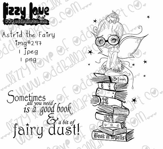 Digital Stamp Big Eye Bookworm Astrid the Fairy Image No. 297