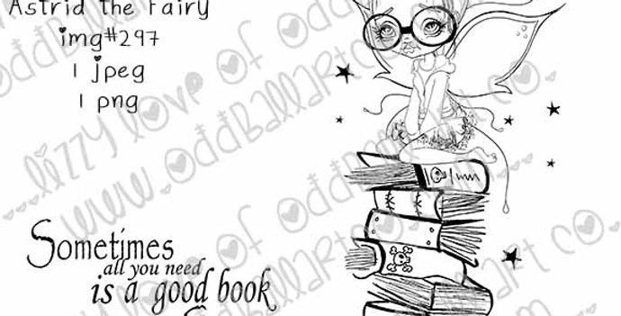 Digital Stamp Big Eye Bookworm Astrid the Fairy Image No. 297