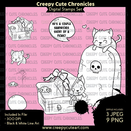 CCC# 149 HAUNTED PICNIC DIGI STAMP Creepy Cute Chronicles