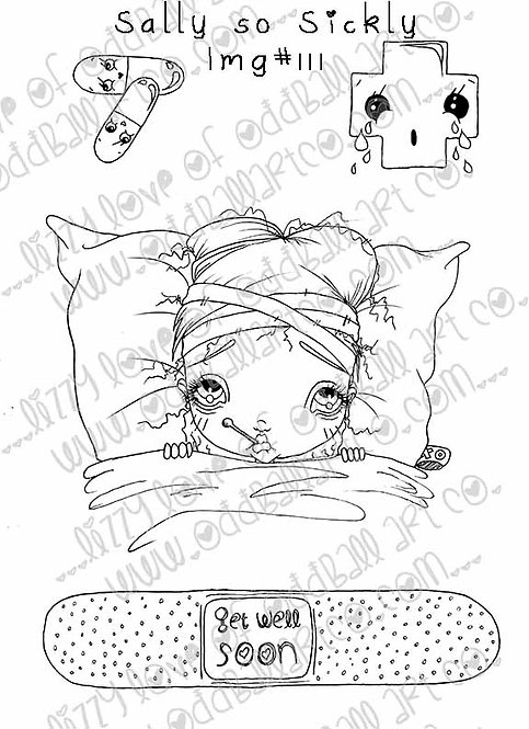Digi Stamp Big Eye Girl Get Well Soon Sally So Sickly Img# 111