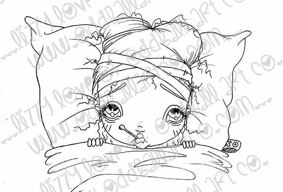 Digi Stamp Big Eye Girl Get Well Soon Sally So Sickly Img# 111