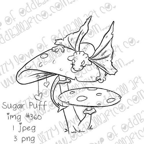 Tiny Kawaii Baby Dragon on a Mushroom Digital Stamp Sugar Puff Image No.360