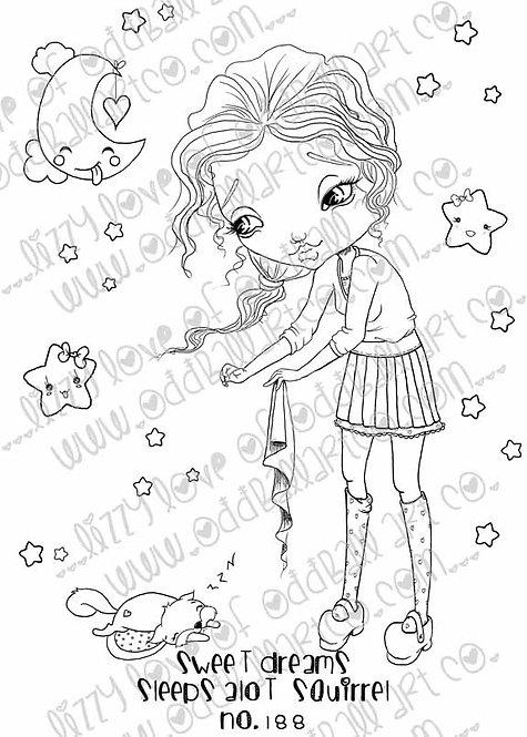 Digi Stamp Big Eye Girl Tucks In Sleeps Alot Squirrel Sweet Dreams Image No 188